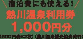 宿泊費にも使える!熱川温泉利用券1,000円分 (500円券×2枚)(熱川温泉観光協会発行)