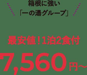箱根に強い「一の湯グループ」 最安値!1泊2食付 6,480円~