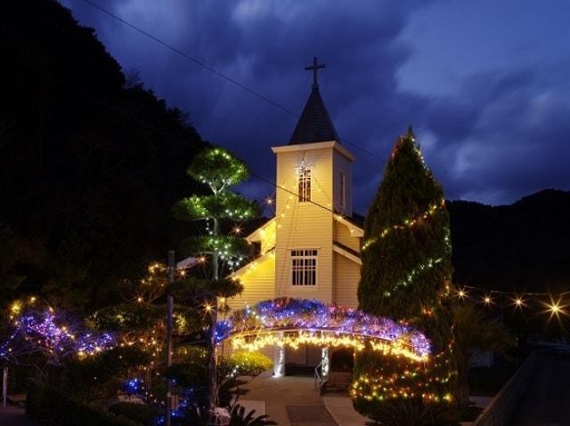 「日本夜景遺産認定」上五島の教会イルミネーション