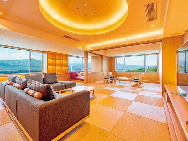貴賓室「天空」【禁煙】 「ビューバス、プライベートサウナ、カウチコーナー等、最上級の設備を設えたお部屋です。」