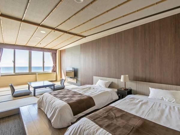 【海側和洋室/例】オーシャンビュー!ベッドを配した広々客室