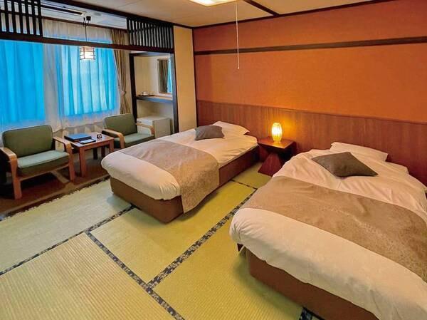 【和風ツイン/例】和室にベッドを配し、足腰に不安がある方にも人気のお部屋