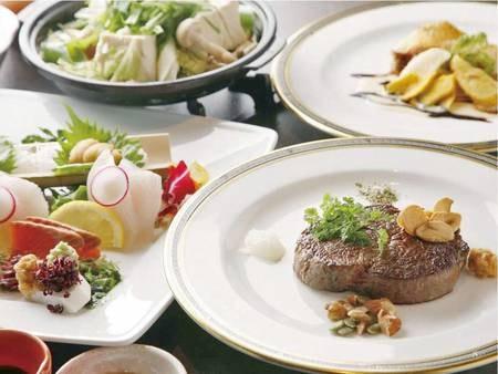 【夕食/例】季節の旬の食材を使った料理長厳選のメイン料理とハーフビュッフェ