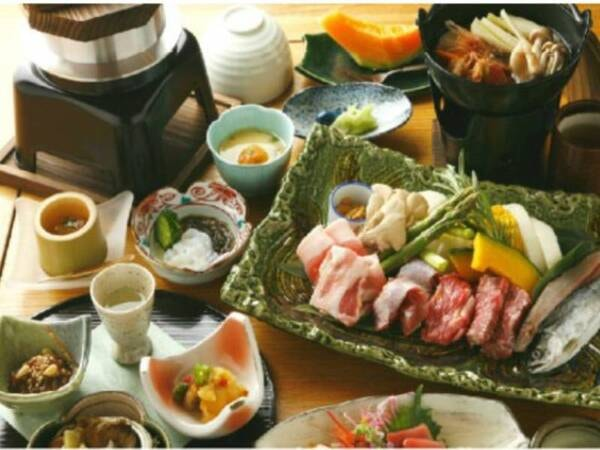 和食・洋食選べるフルコース【和食:狩人焼&蝦夷鍋コース/一例】