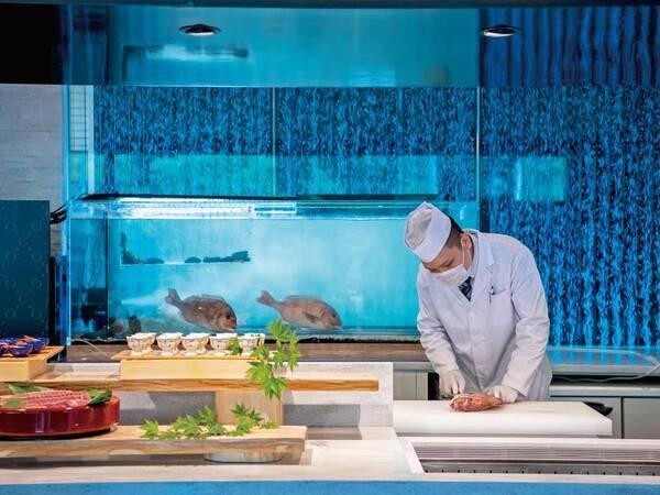 【夕食/例】和食の実演は魚の解体もあり!