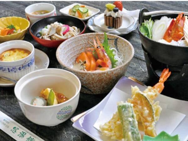 【海鮮鍋こだわり10品御膳/例】夕食には海鮮鍋・お造り・海老や旬野菜の天婦羅など全10品の御膳をご用意!