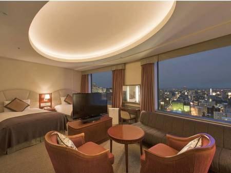 【デラックスツイン/例】大きな窓から夜景を望むラグジュアリーなお部屋