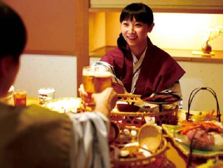 【和食膳/例】個室食事処にて季節の和食膳11品&飲み放題付き!