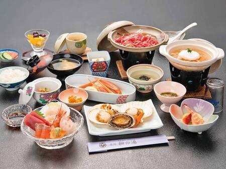 【[帆立&鮑の踊焼き付]ずわい蟹和食膳/例】磯の香りがたまらない