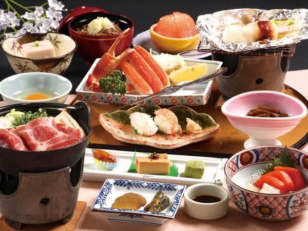 【蟹付オリジナル和会席/夕食一例】ずわい蟹浜茹で、きりたんぽ味噌焼など全10品。十和田荘のゆこゆこ人気NO1のプランです!