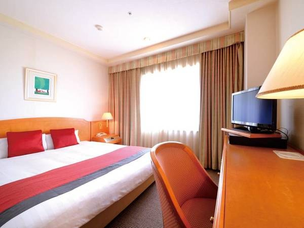 [ダブルタイプ/一例] 約18㎡の客室、ベッドは大きなクイーンサイズの160cm
