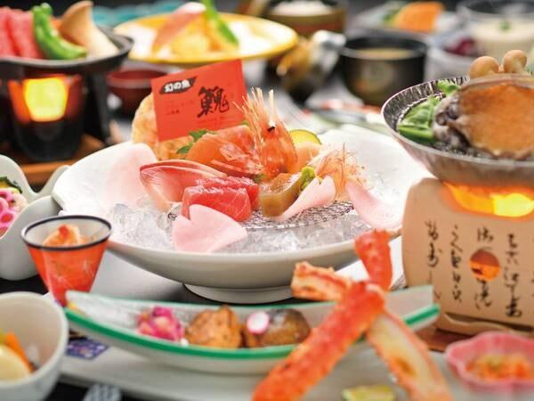 【贅沢プラン/例】活あわび陶板焼&鰺ヶ沢の幻の魚「イトウ」に加え、更に「国産黒毛和牛ステーキ」と贅沢なプラン