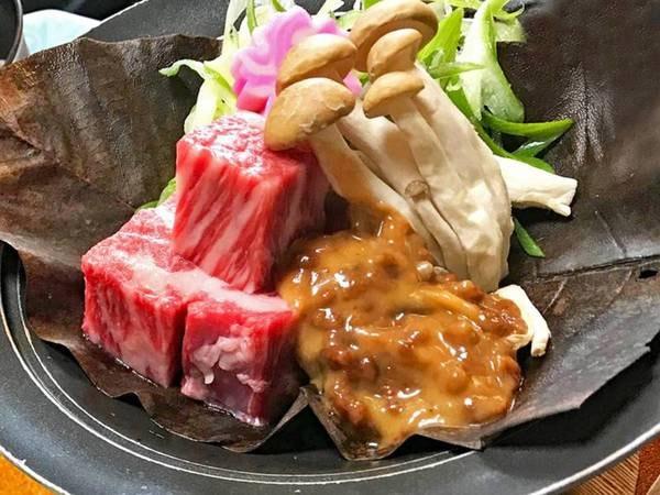 倉石牛の味噌朴葉焼付き料理/夕食例