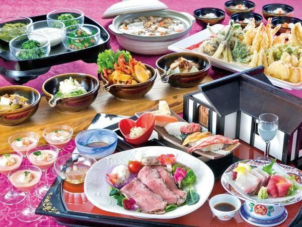 南部曲り家会席/例。お膳の料理と食べ放題のコーナーをご用意