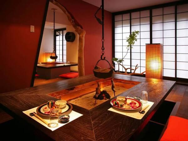 【食事会場/例】やまゆりの宿といえば囲炉裏料理