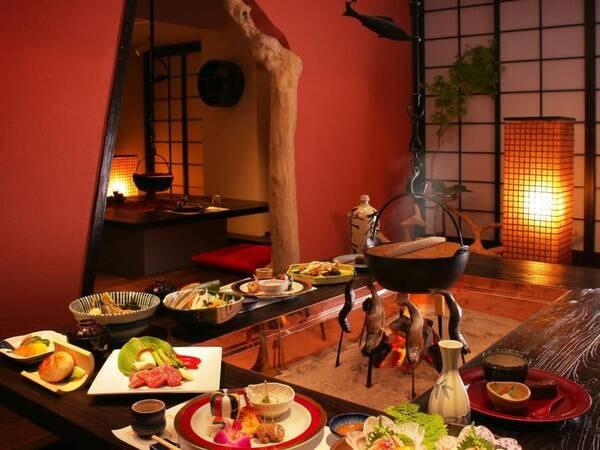 囲炉裏料理(料理はイメージ)。雰囲気も愉しめる