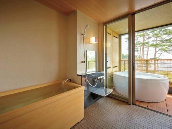 【[次郎の庵・2階]20帖/例】客室の内風呂は檜となっています。※温泉ではございません