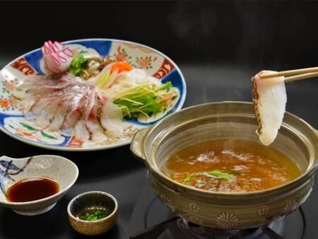 【夕食/例】出汁にさっとくぐらせていただく真鯛のしゃぶしゃぶ