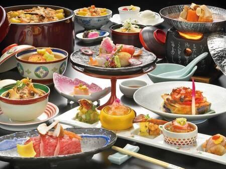 【海と山の贅沢会席/例】人気食材の【鮑・ふかひれ】が入った贅沢な会席。記念日にもおすすめのグレードアッププラン