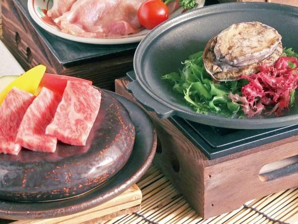 【県産牛とあわび陶板焼きプラン/例】県産牛とあわびの2大メイン食材を楽しめる!