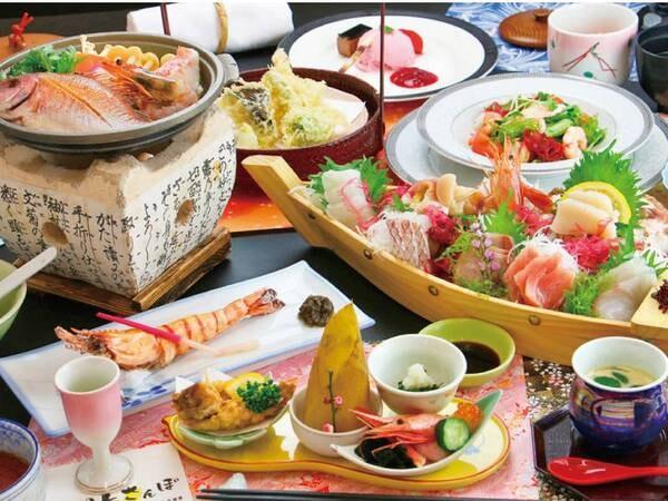 【海月】三陸満喫会席/例 三陸沖で獲れた新鮮な魚を舟盛で♪ ※写真はイメージ