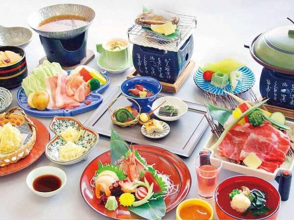 【4月~9月「夢旅情会席」例】鮑の網焼きと仙台牛陶板焼き付き会席