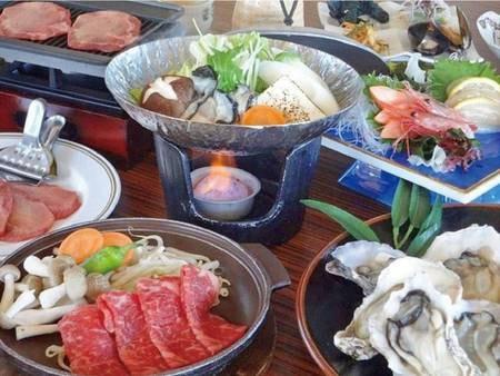 【焼き牡蠣と牡蠣鍋/例】牡蠣好きには必見!松島産牡蠣を堪能しハーフバイキングではお造りや海老フライを!