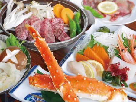 【ハーフバイキング/タラバ蟹と仙台牛陶板焼き/例】タラバガニと仙台名物の牛タンを満喫できるおすすめプラン!