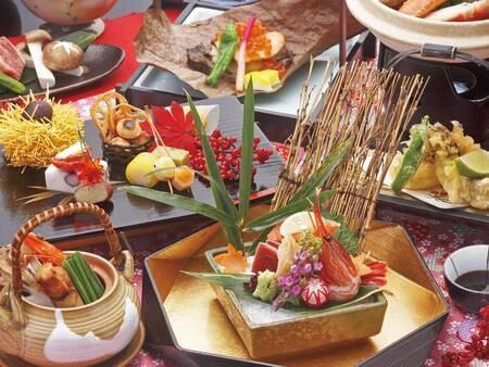 【当日選べるメイン料理■夕朝食半個室食事■基本プラン1泊2食/例】当日選べるメイン料理(お肉料理、魚料理から選べます)を含めた珠玉の11品夕食。