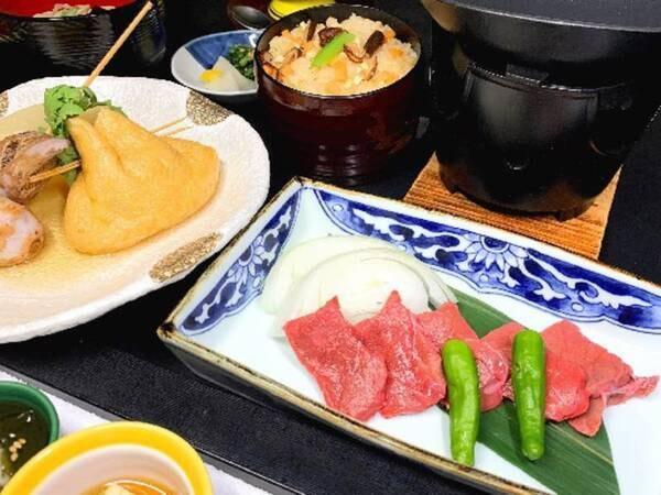 選べる小鍋:「牛肉木の葉陶板焼き」お肉好きな方におすすめ!木の葉陶板で柔らかなお肉を堪能/一例