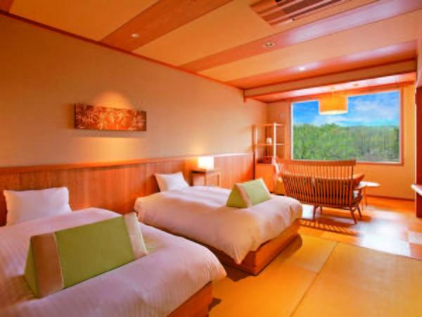 良質な睡眠のための客室36平米とシモンズ社セミダブルベッド(例)