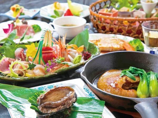 【三陸グルメ御膳 -松-】鮑の踊り焼きか仙台牛のステーキを選べる!!