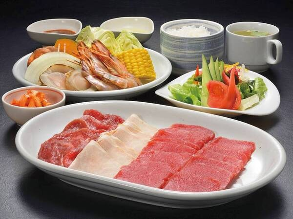 【牛タン付海鮮とお肉の網焼き料理/例】