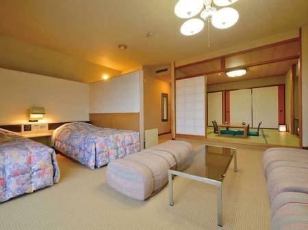 【和洋室B/例】和室8畳+洋室ツインベッド+リビングがついた広々とした和洋室にご案内(階数、禁煙・喫煙等はすべて宿お任せ)