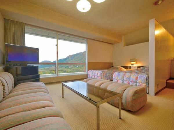 【和洋室B/一例】和室8畳+洋室ツインベッド+リビングがついた広々客室!
