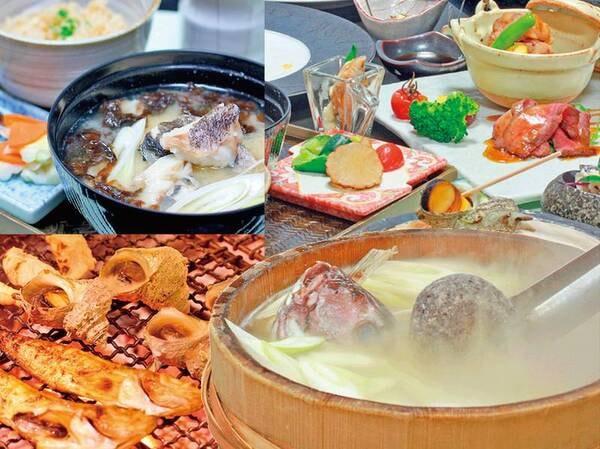 【夕食/例】当館人気のご夕食スタンダードコース。「旬彩洗心」で名物石焼&炭火焼を堪能
