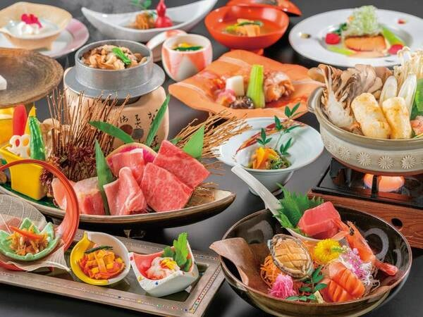 【秋田錦牛・比内地鶏・虹の豚陶板焼き会席/例】ブランド肉を贅沢に食べ比べ