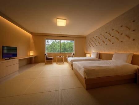 リニューアル和室ツインルーム≪禁煙≫/一例 秋田杉を使用した、畳とベッドのお部屋にリニューアル。