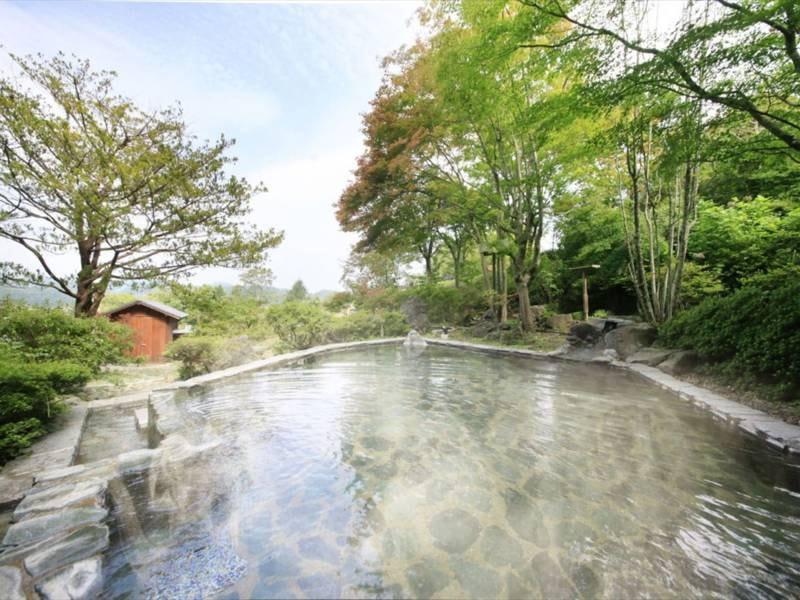 【露天 薬師の湯】女性用露天風呂。晴れた日には岩手山、夜空には星…自然を感じる庭園露天風呂です。
