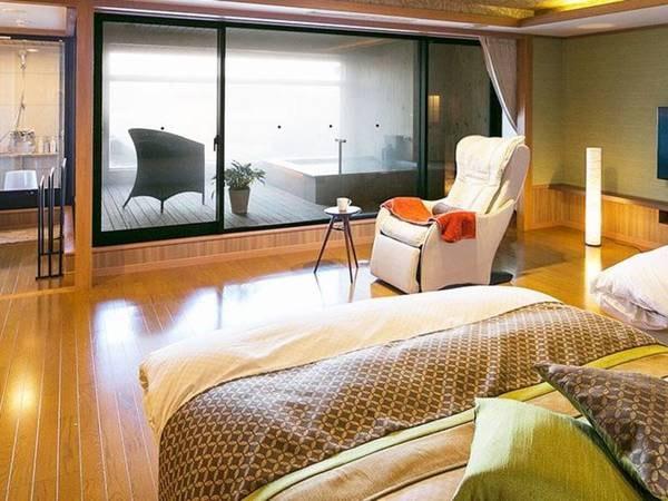 【<別邸うらら>『宙』/例】別邸最大・当館最上級客室です。和室12畳+4.5畳/ベッドスペース(ツイン)/