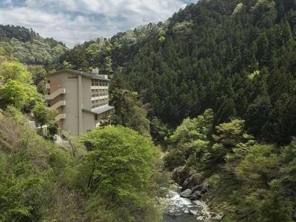 【周辺】深い谷間に刻まれた鳩ノ巣渓谷(多摩川)を見下ろす立地