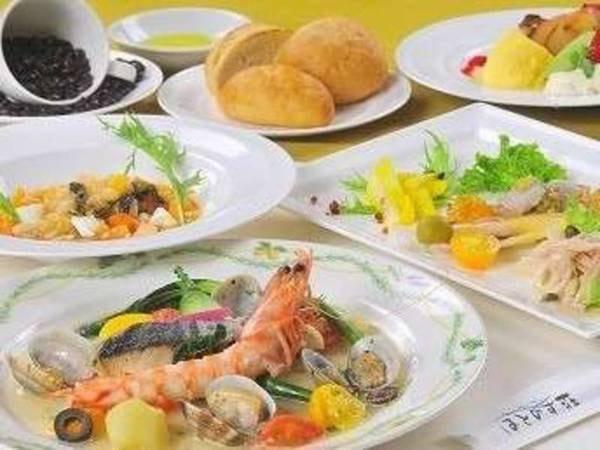 【ポコスタイルコース/一例】お魚をメインとしたあっさり系のやや少なめコースとなります