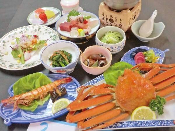 【夕食】3品選ぶ/牛・姿造り・蟹1杯・鮑(写真は一例)