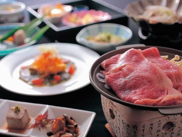 山形牛すき焼き付会席/一例。質にとことんこだわった絶品「山形牛」のすき焼きがメインの会席料理