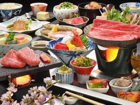 山の幸・雅膳 米沢牛すき焼き&山形牛石焼/一例