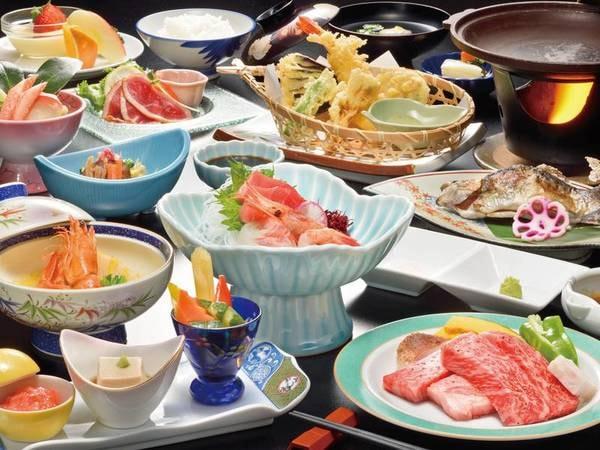 霜降りがたくさん入った米沢牛ステーキ付き!スタンダード会席(料理一例)