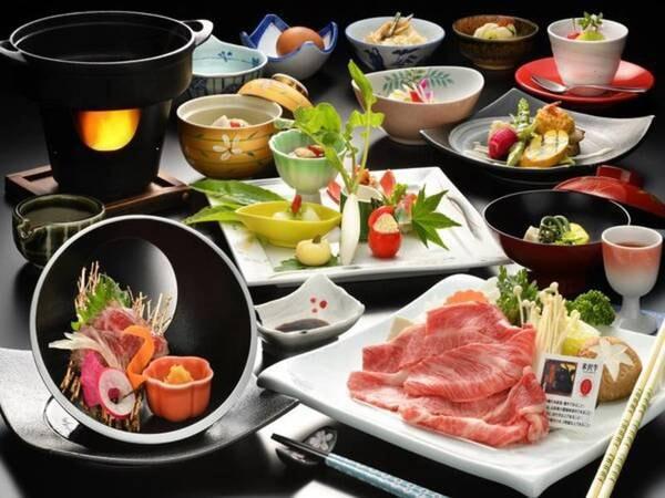 米沢牛のしゃぶしゃぶかすき焼きを個人ごとに予約時選択可能!(写真はすき焼きの一例)