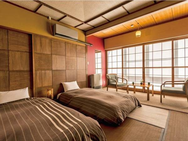 【和ベッド客室/一例】和室にローベッド2台設置。和情緒あふれるお部屋でくつろぎのひと時をお過ごしください