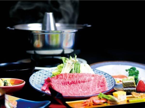 調理法が選べる「山形牛」付会席/しゃぶしゃぶ一例。ステーキ・しゃぶしゃぶ・すき焼きから予約時に選択可能!