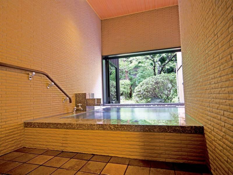 【有料貸切風呂/洗心の湯】源泉かけ流しの半露天風呂。四季の庭園を眺めながら湯浴みを楽しめる